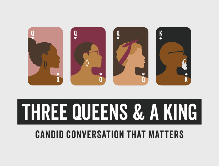 Three Queens & a King podcast cover art with illustration of three women and a man